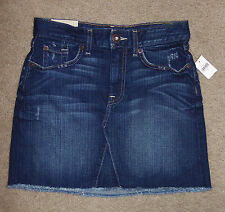New Gap Jeans 0/25 Mini Skirt Destructed Authentic Fringe Pencil Cotton Stretch