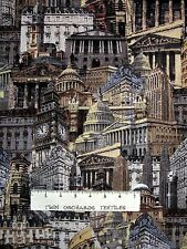 Renaissance Man Fabric - Buildings Architecture Sepia - Benartex Kanvas YARD