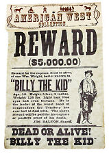 American Wild West Billy The Kid Replica Parchment Wanted Poster 25x20cms New