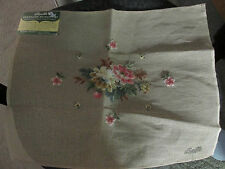 VTG BUCILLA PREWORKED NEEDLEPOINT 100% WOOL16 X 20 PICTURE PILLOW FLOWERS STOOL