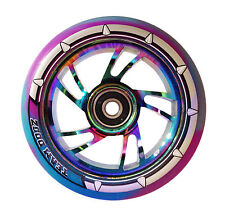 Team Dogz Rainbow Neo Chrome 110mm Scooter Alloy Wheels Mixed 88A PU Purple Blue