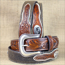 42 INCH WESTERN NOCONA MENS BELT COWBOY PRAYER CONCHO DARK CHOCOLATE