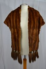 VINTAGE 1930s caramel brown mink fur wrap stole shawl with tassels