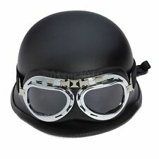 Hot WWII Style BLACK German Motorcycle Half Helmet Chopper Biker Pilot Goggles