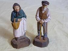 2 Vintage Hand-Carved Wood Figurines/Figures Folk Art - Man & Woman Quebec 1930
