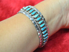 Vintage Signed T. Lowe Navajo Sterling Silver cuff Bracelet Turquoise