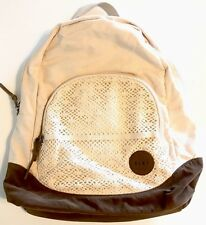 Roxy Backpack White Cream Book Bag Brown Canvas Eyelet School