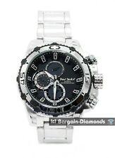 mens big heavy steel business sports watch black dial bracelet designer style