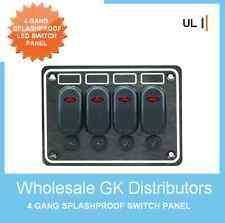 4 GANG DELUXE LED ROCKER SWITCH PANEL & CIRCUIT BREAKERS -BOAT/MARINE/WATERPROOF