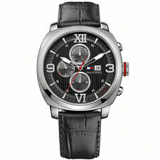 New Tommy Hilfiger Men Multi-Function Black Leather Band Watch 45mm 1790967 $145