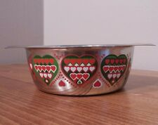 Small Stainless Steel Serving Bowl Enamel Painted Hearts Germany WMF Cromargan