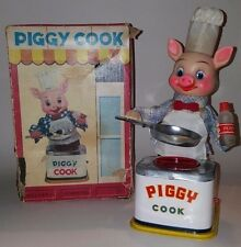 Piggy Cook with Box - 1950's Yonezawa Japan Tin Litho Battery Operated Toy
