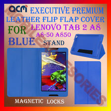 ACM-EXECUTIVE LEATHER FLIP CASE for LENOVO TAB 2 A8 A8-50 A850 COVER STAND-BLUE