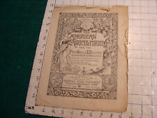 vintage magazine: index to illustrations of THE AMERICAN AGRICULTURIST 1883