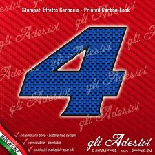 Adesivo Stickers NUMERO 4 moto auto cross gara Carbon Effect Blu 5 cm