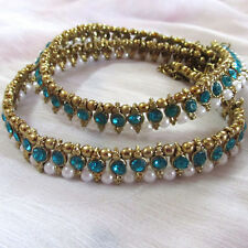 Antique Gold Tone pearl Anklet/payal blue stone