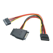 "8"" SATA Power Splitter 15-pin Female to 3 15-pin Male Cable 8 inch"