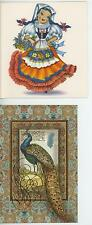 VINTAGE BELLA ITALIAN ITALY COSTUME GIRL GRAPES FRUIT ART CARD PRINT & 1 PEACOCK