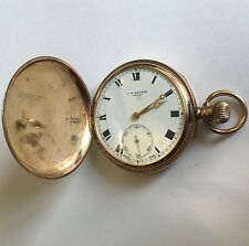 Antico solido 9ct ORO COMPLETO Hunter J W Benson Orologio da taschino 1918 16 JEWELS D 48mm