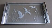 Vtg 1950s Silver Metal & Etched Glass Serving Tray Ducks In Flight Pond Cattails