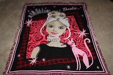 Barbie Northwest Company Throw Blanket Afghan 44 x 55 Woven Tapestry Throw Cute!