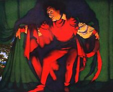 """MAXFIELD PARRISH BOOK PRINT""""MANAGER DRAWING CURTAIN"""" FIGURE IN RED GREEN DRAPES"""