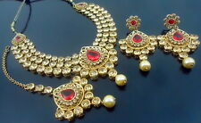 RED LCT PEARL GOLD TONE BOLLYWOOD PARTY WEAR NECKLACE SET ETHNIC BRIDAL JEWELRY