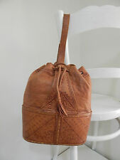 Genuine Vintage Tan Leather Hand Tooled Pattern Carry Bag Drawstring Strap