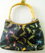 Womens Dragonfly Purse Bamboo Handles Threaded Colorful Design Inside Zipper