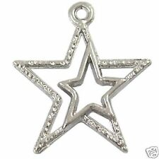 10 x Tibetan Silver Pendant Double Hollow Star Charm