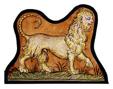 Medieval Manticore stained glass fragment, kilnfired, manticore suncatcher, glas