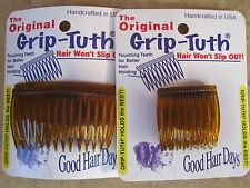 """Shell Grip-Tuth Side Combs 1 1/2"""" 2 Pack & 2 3/4"""" 2 Pack = 4 Combs Made in USA"""