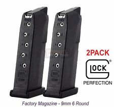 2 PACK Glock Model G43 Factory - OEM - Magazine 9mm 6 Round with Flat Base Plate