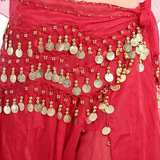 New Chiffon Belly Dance Hip Scarf 3 Rows Coin Belt Skirt SPCA