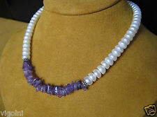PEARL NECKLACE AMETHYST STRAND STRING WHITE SILVER LUSTER GIFT DESIGNER HONORA