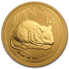 2008 1 oz Gold Lunar Year of the Mouse BU (Series II) - SKU #28815
