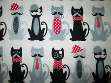 COOL CATS HATS MUSTACHES DRESSED UP CAT OFF WHITE COTTON FABRIC FQ
