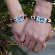 Couples Bracelet Love Heart Arrow Lovers Braclet His and Hers Brown CP-559