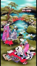 Tea Time in Tokyo Geishas Japanese Printed Cotton Fabric Panel - Michael Miller