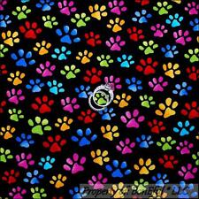 BonEful Fabric FQ Cotton Quilt Black Red Pink Yellow Rainbow Puppy Dog Paw Print