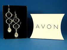 AVON Open Loop Teardrop Fishhook Earrings Silvertone/Hematite Crystal NEW
