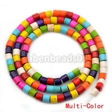 4x4mm Mix Color Jewelry Howlite Turquoise Tube Gemstone Loose Spacer Beads 16""