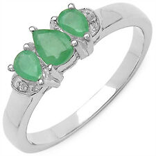 925 Sterling Silver Ring with Genuine Emerald & White Diamond