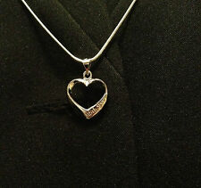 Women's Heart 18K White Gold Plated Pendant With 925 Sterling Silver Chain