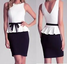 NWT bebe cream white black belt textured low v peplum top dress M medium 6 8