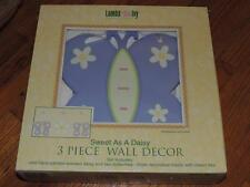 LAMBS & IVY SWEET AS A DAISY 3 PIECE WOOD WALL DECOR HANGINGS BUTTERFLY FLOWER