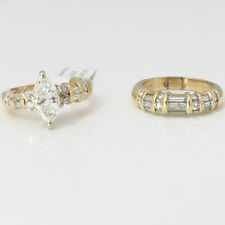 NYJEWEL 14k Solid Gold 2.15ct Marquise Diamond Engagement Ring Set $16000