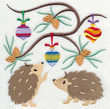 HEDGEHOG CHRISTMAS SET OF 2 BATH HAND TOWELS EMBROIDERED BY LAURA