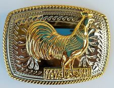 ROOSTER FARM BIRD RODEO ANIMAL RODEO SMALL COWBOY WESTERN GOLD SHINE BELT BUCKLE