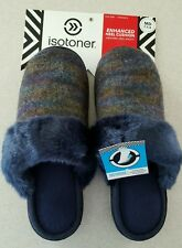 NWT $26 Isotoner Women's 7.5-8 MED Slippers NAVY Mary Claire Clogs FUR  #401216